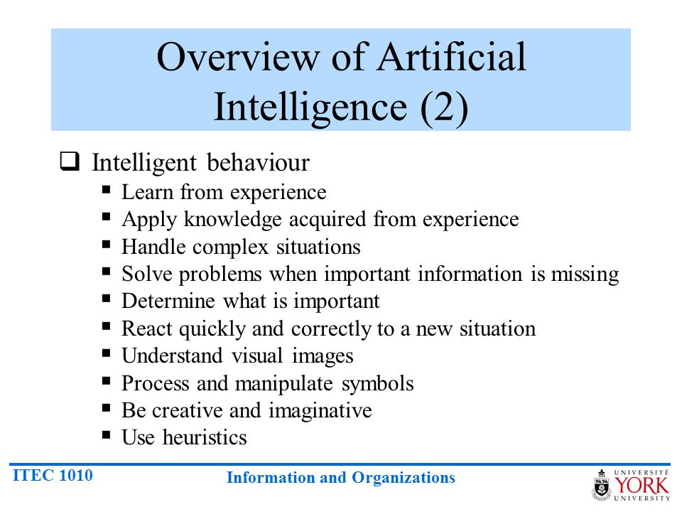 Overview of Artificial Intelligence (2)