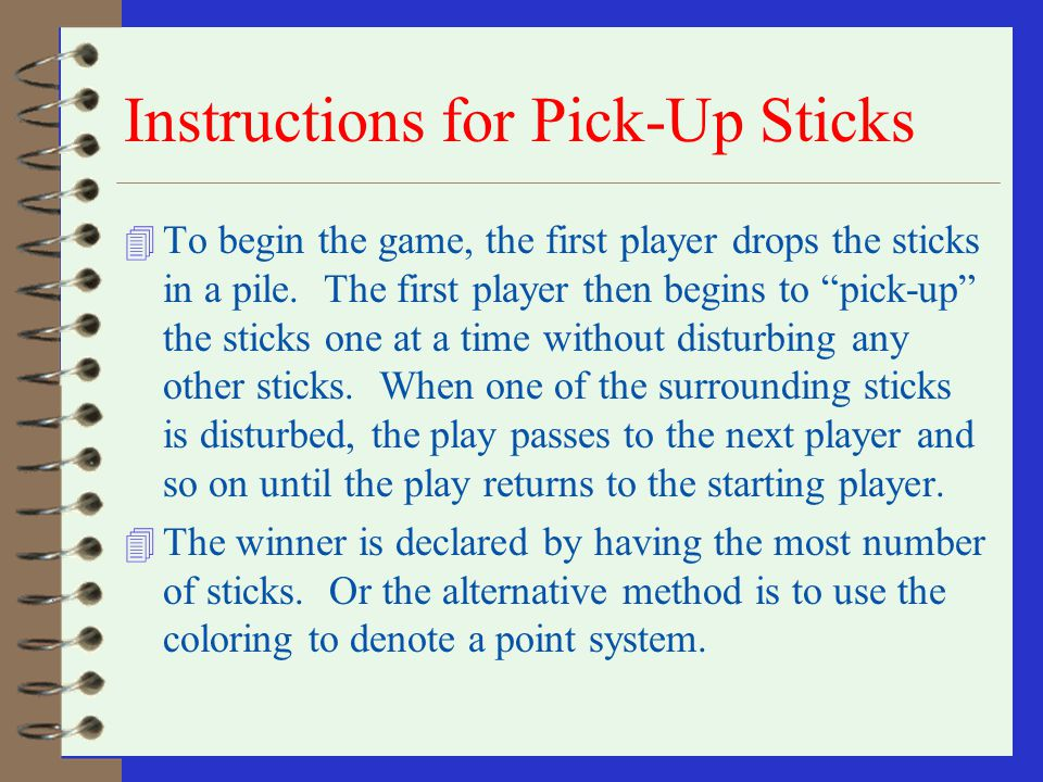 Instructions for Pick-Up Sticks