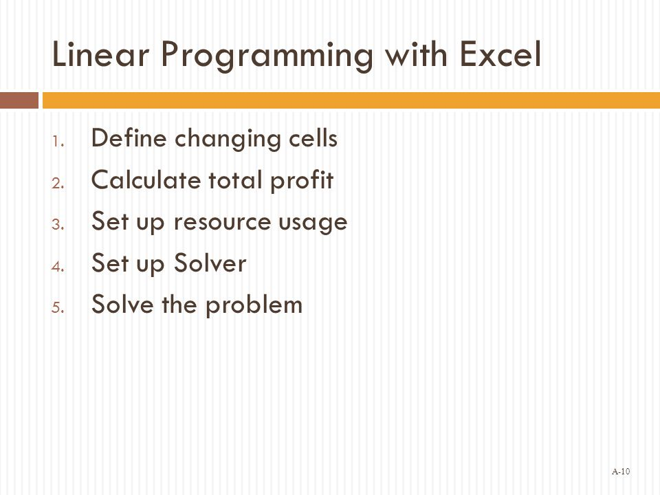 Linear Programming with Excel