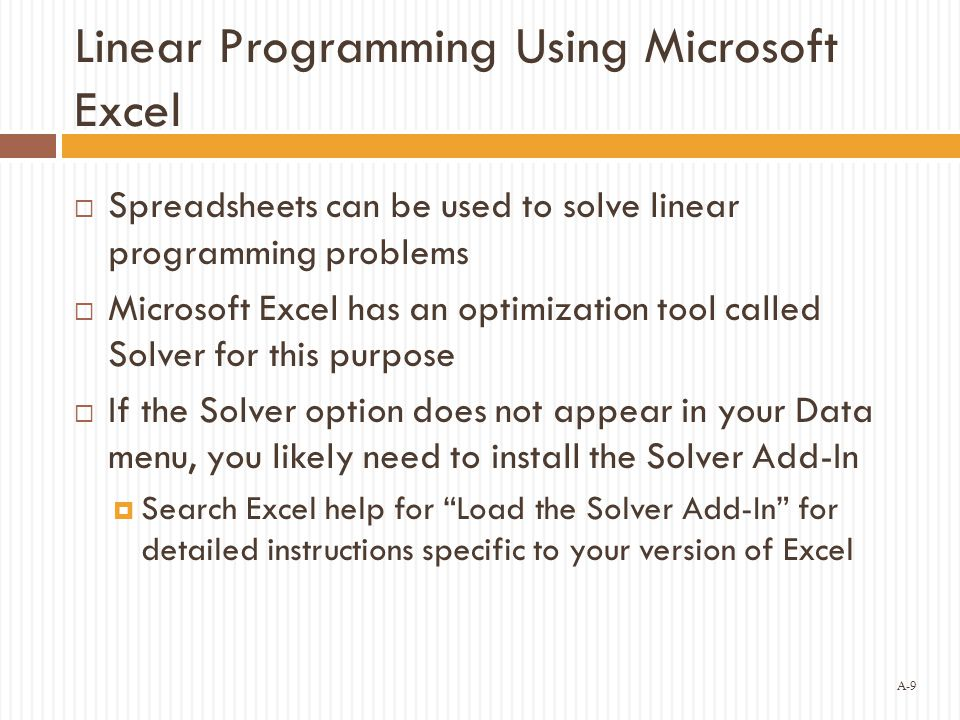Linear Programming Using Microsoft Excel