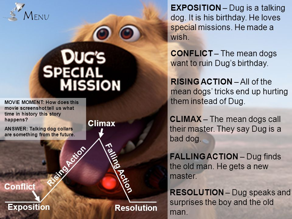 MENU EXPOSITION – Dug is a talking dog. It is his birthday. He loves special missions. He made a wish.