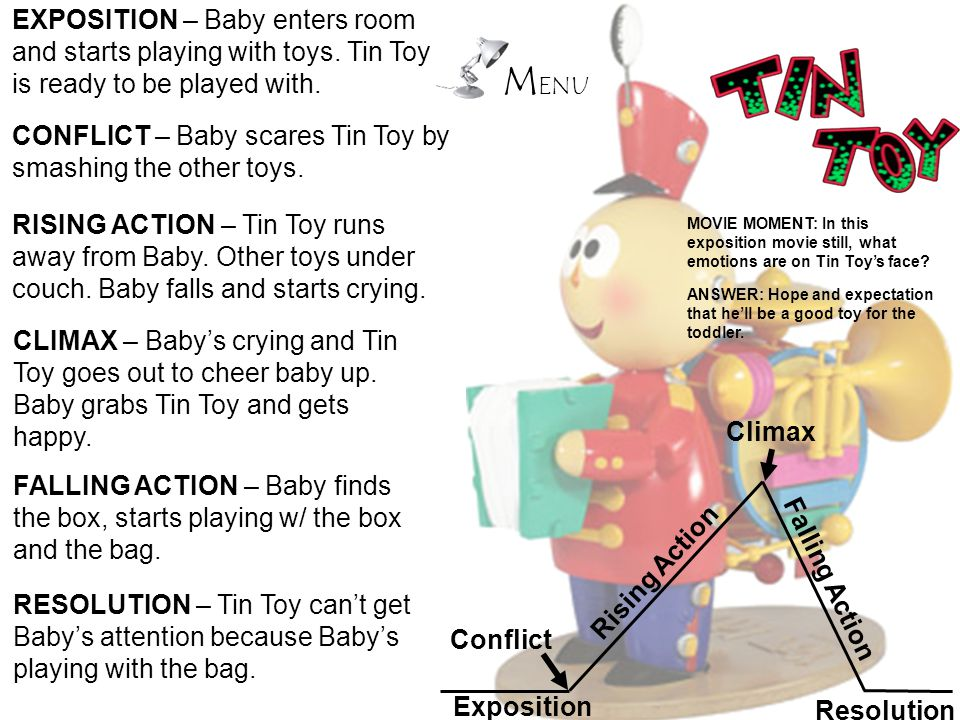 EXPOSITION – Baby enters room and starts playing with toys