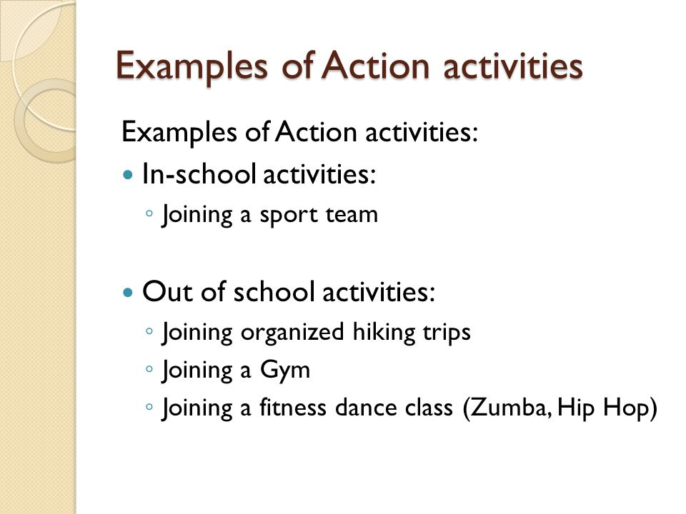 Examples of Action activities