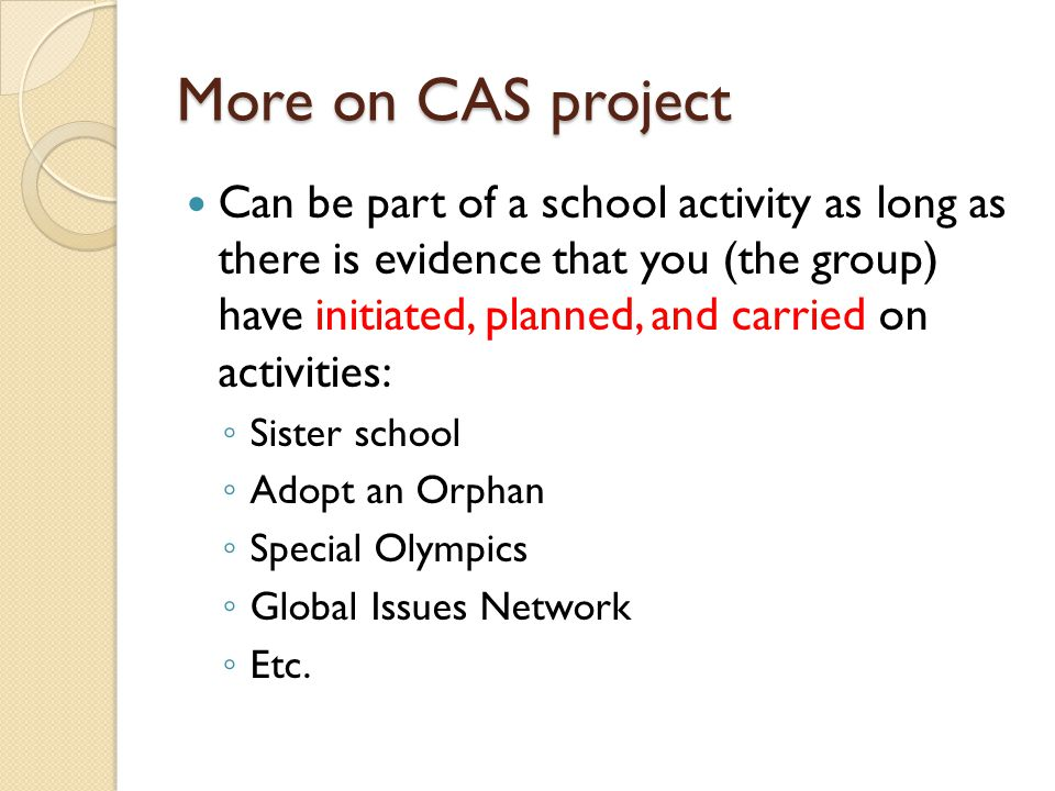 More on CAS project