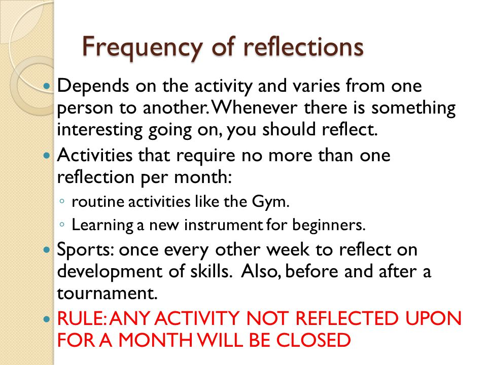 Frequency of reflections