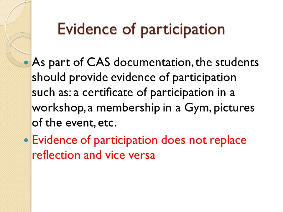 Evidence of participation