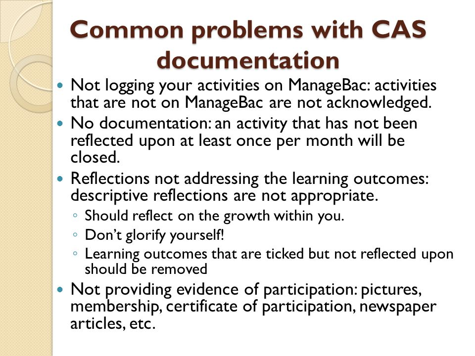 Common problems with CAS documentation
