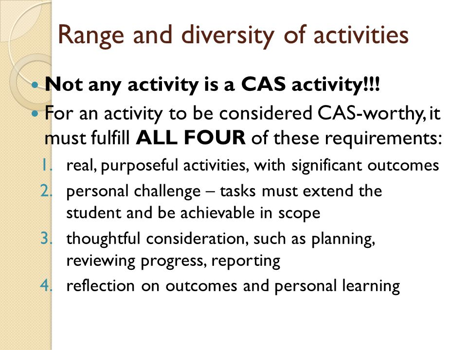 Range and diversity of activities