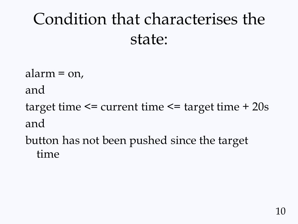 Condition that characterises the state: