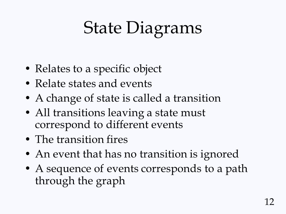 State Diagrams Relates to a specific object Relate states and events