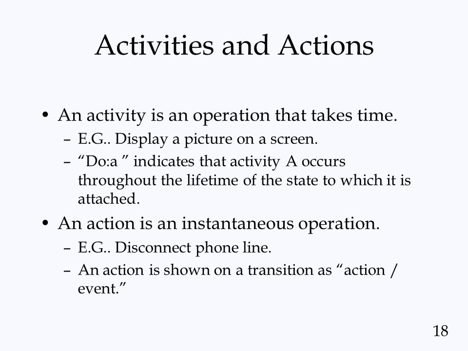Activities and Actions