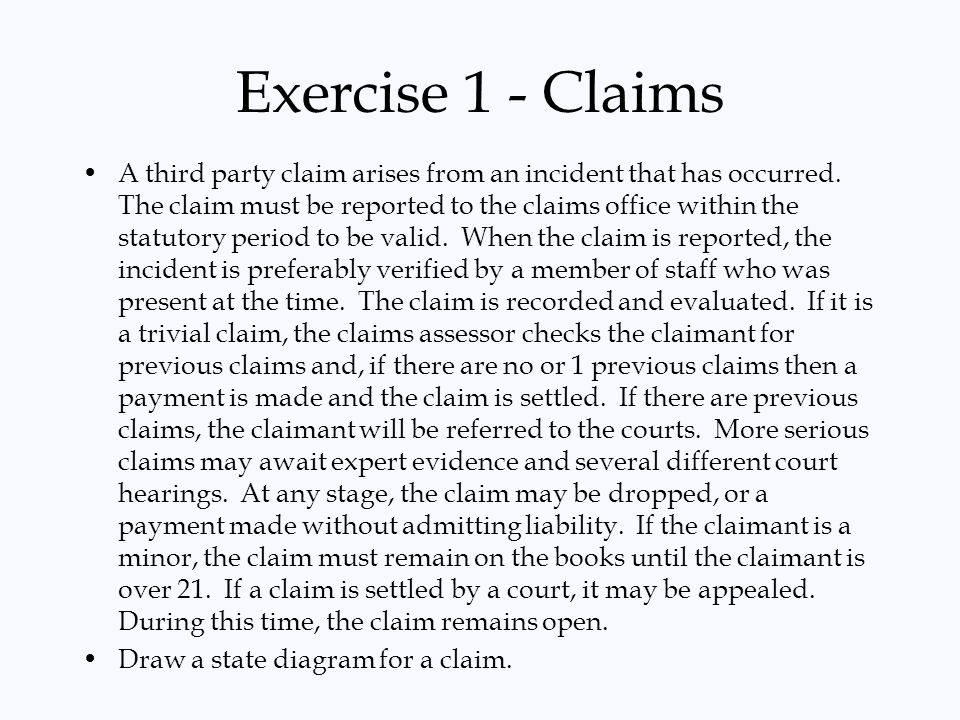 Exercise 1 - Claims