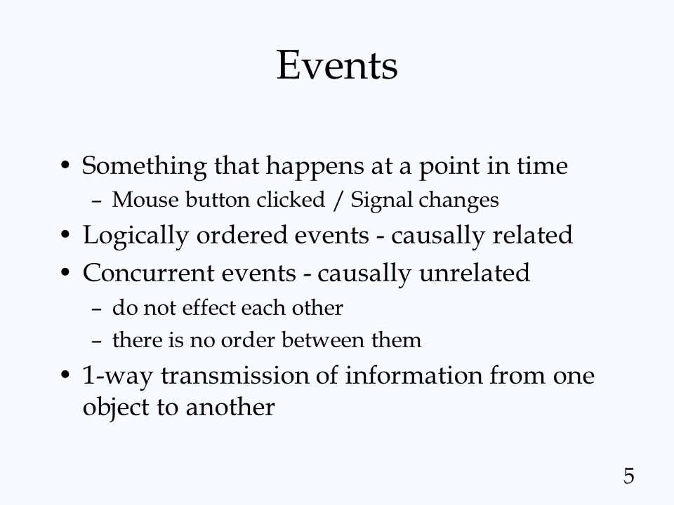 Events Something that happens at a point in time