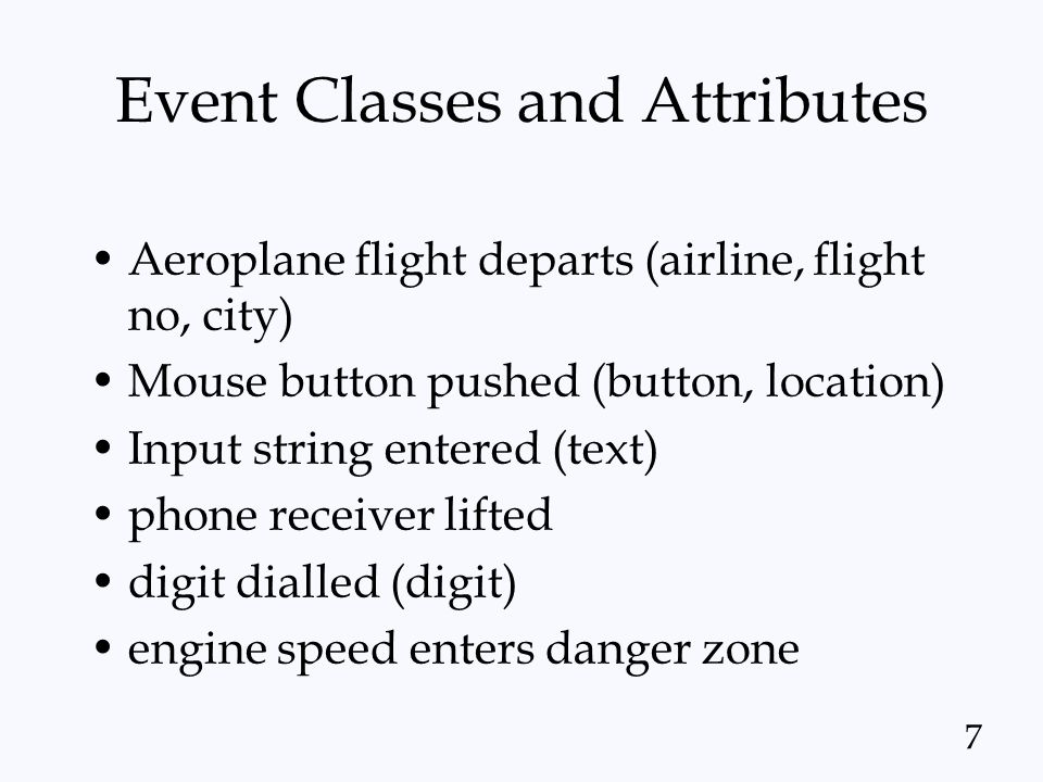 Event Classes and Attributes