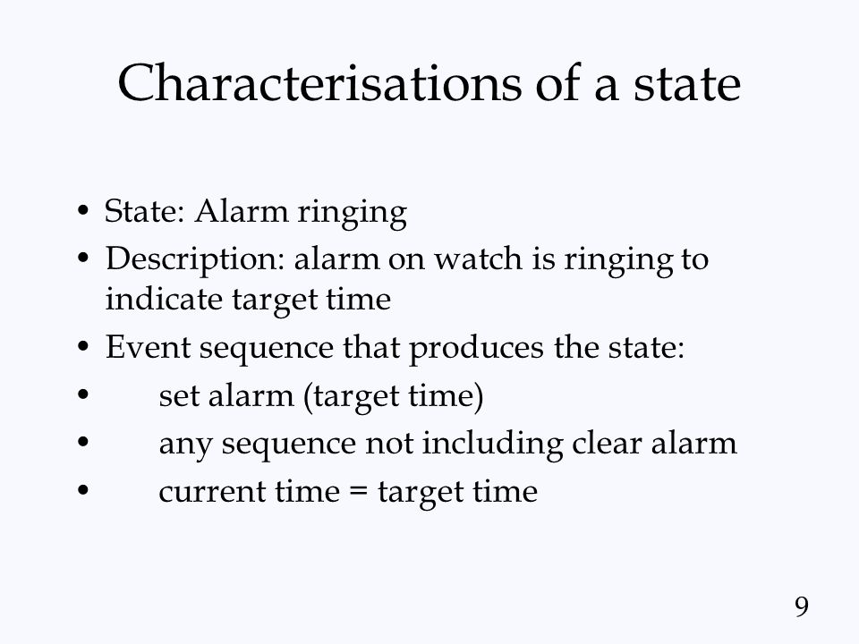 Characterisations of a state