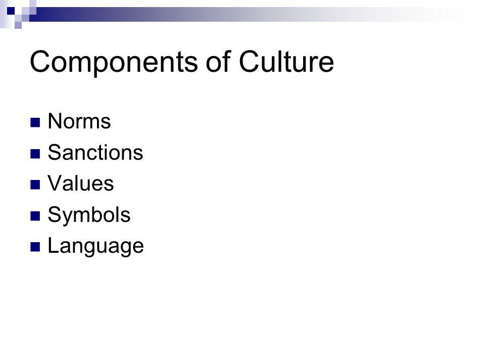 Components of Culture Norms Sanctions Values Symbols Language