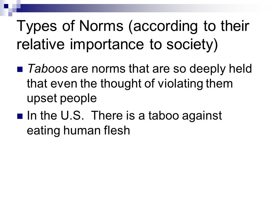 Types of Norms (according to their relative importance to society)