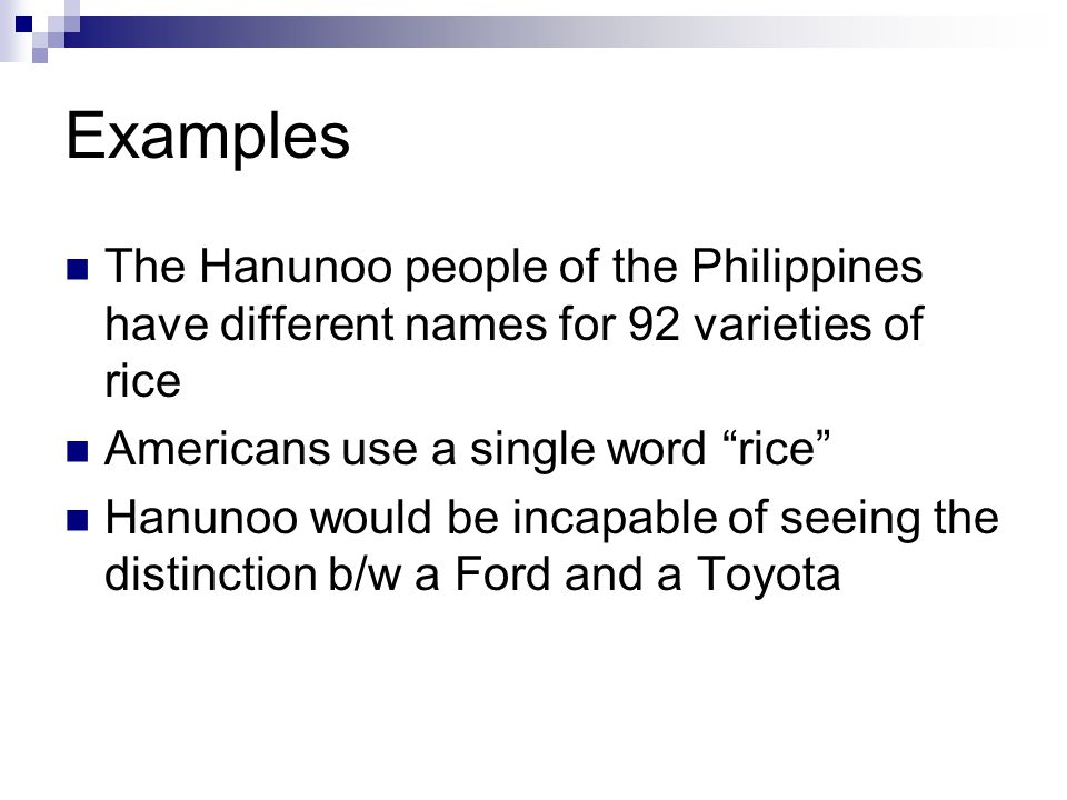 Examples The Hanunoo people of the Philippines have different names for 92 varieties of rice. Americans use a single word rice