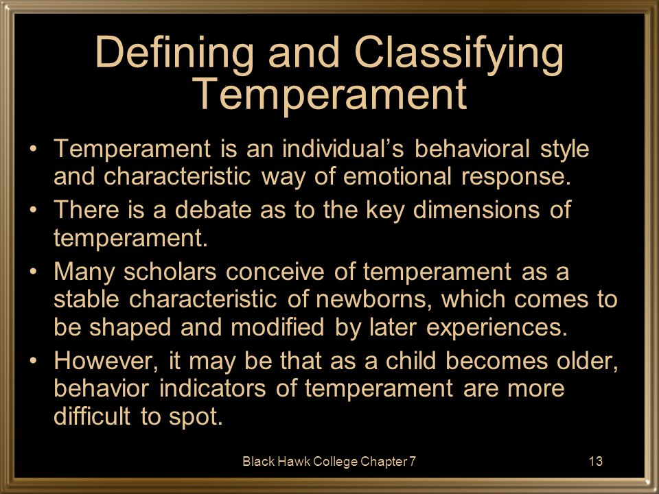 Defining and Classifying Temperament