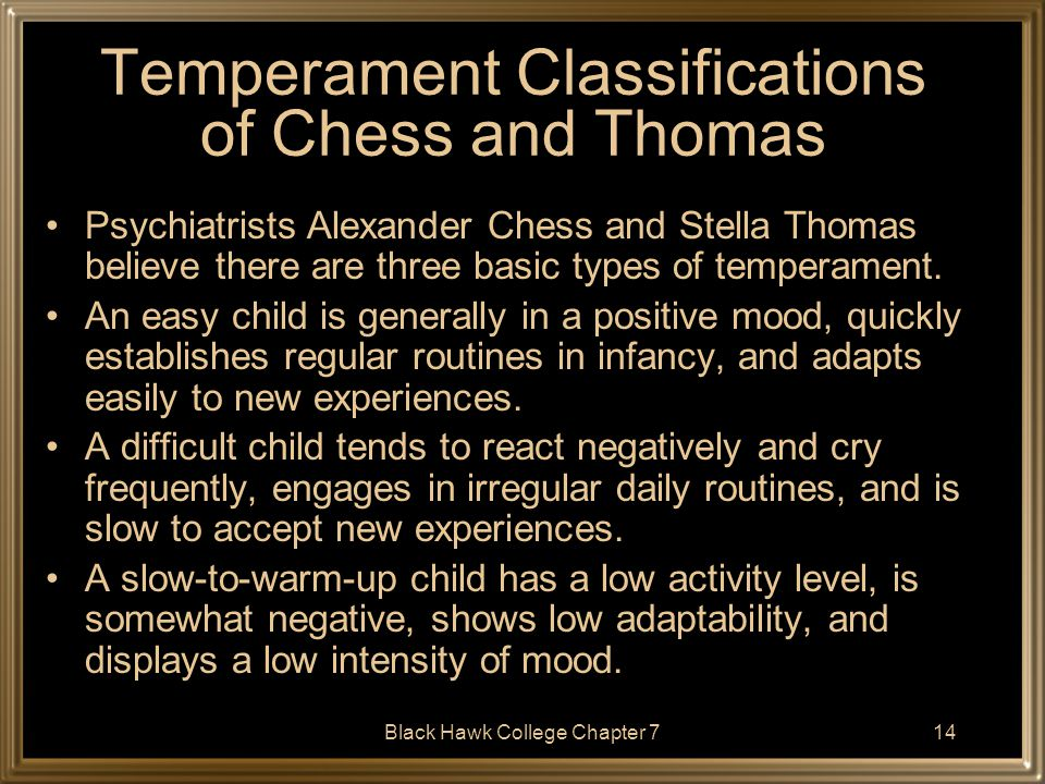 Temperament Classifications of Chess and Thomas