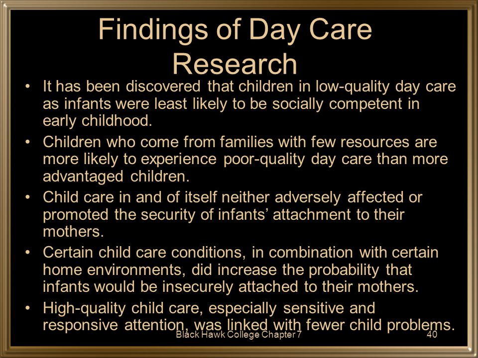 Findings of Day Care Research