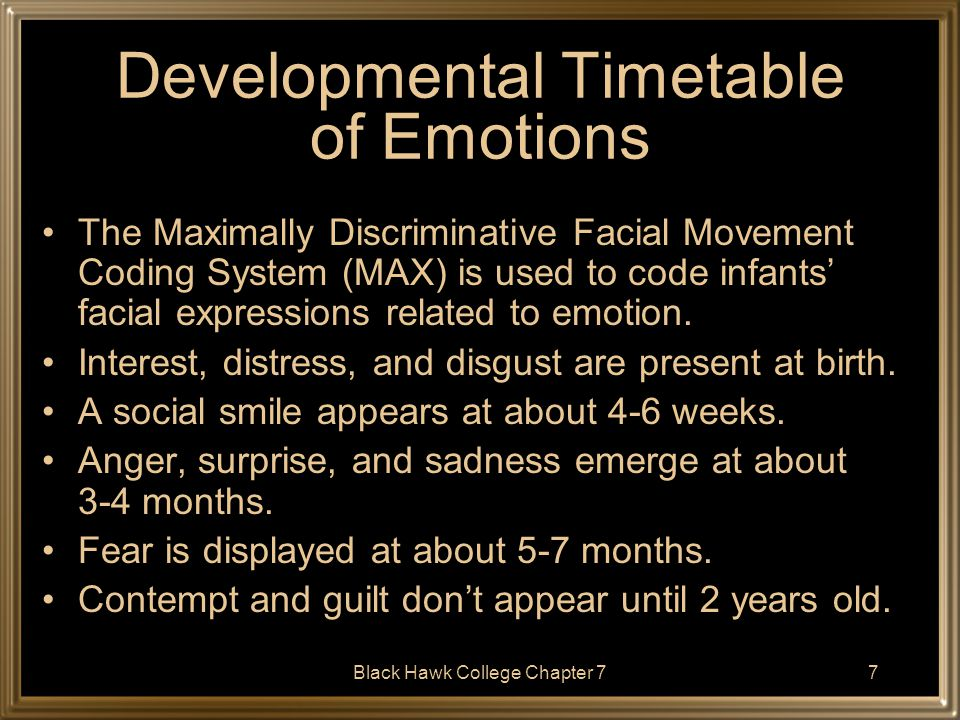 Developmental Timetable of Emotions