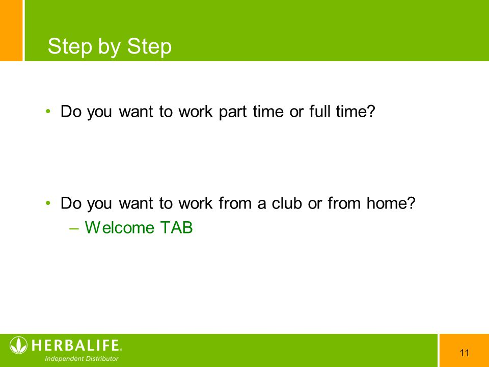 Step by Step Do you want to work part time or full time