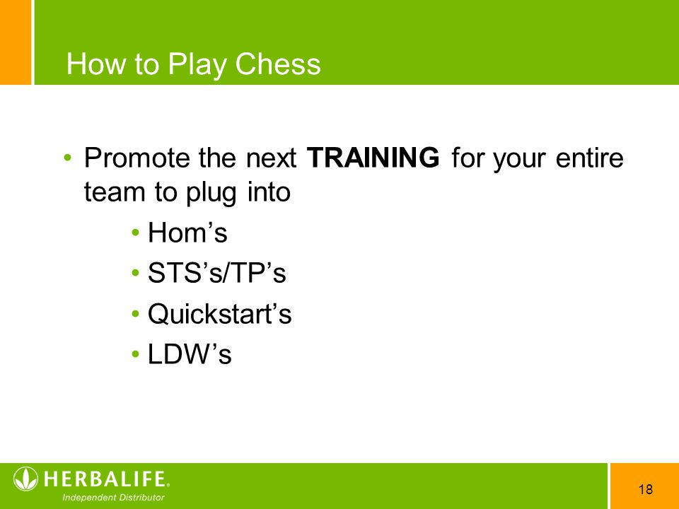 How to Play Chess Promote the next TRAINING for your entire team to plug into. Hom's. STS's/TP's.