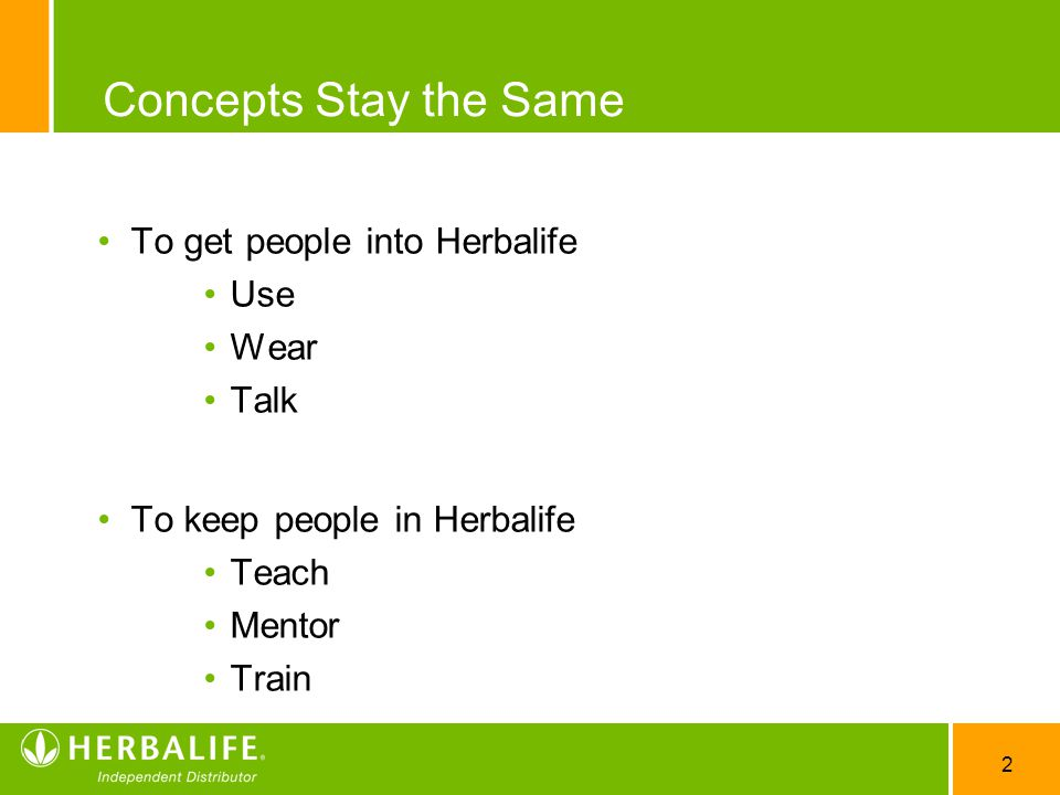 Concepts Stay the Same To get people into Herbalife Use Wear Talk