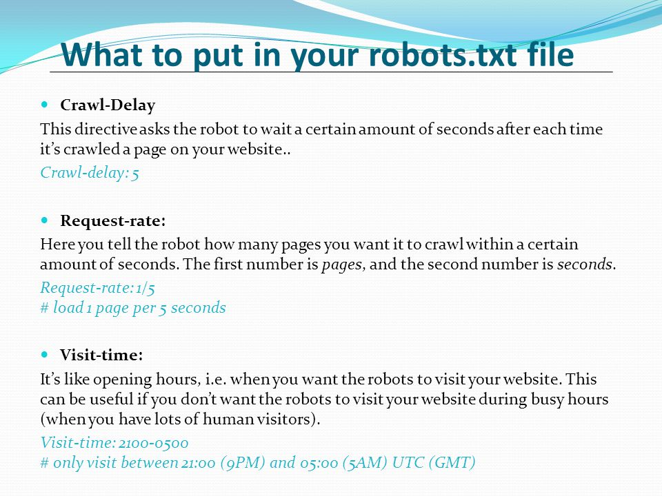 What to put in your robots.txt file