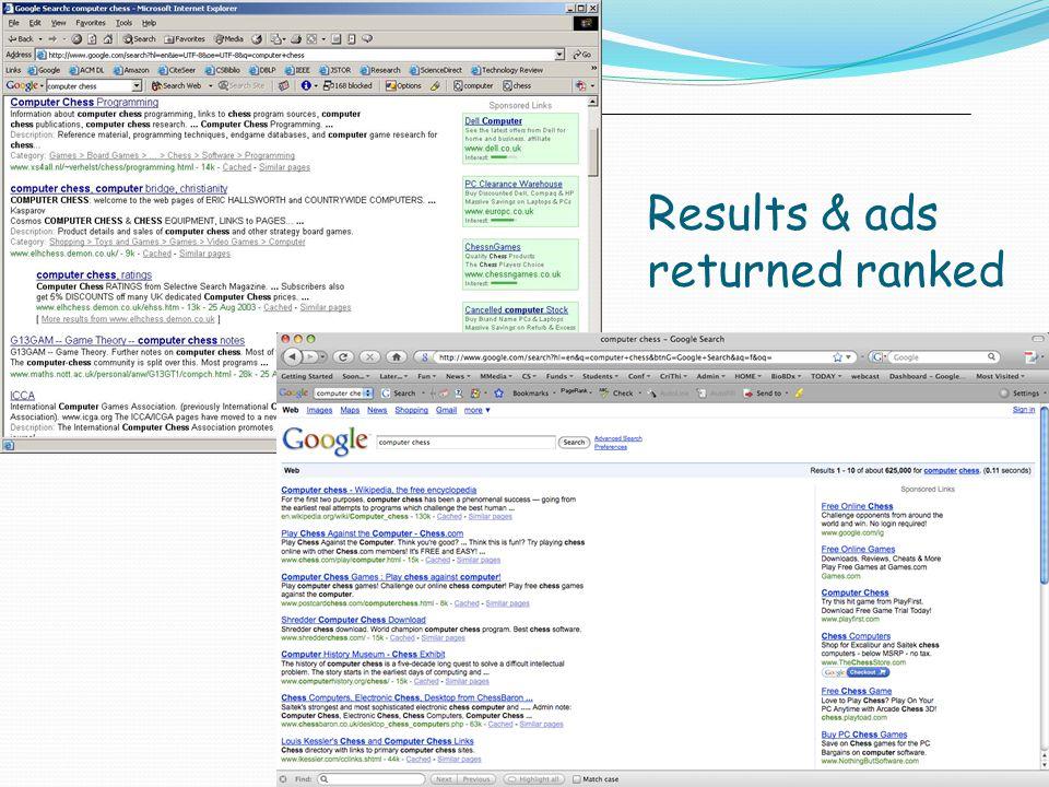 Results & ads returned ranked