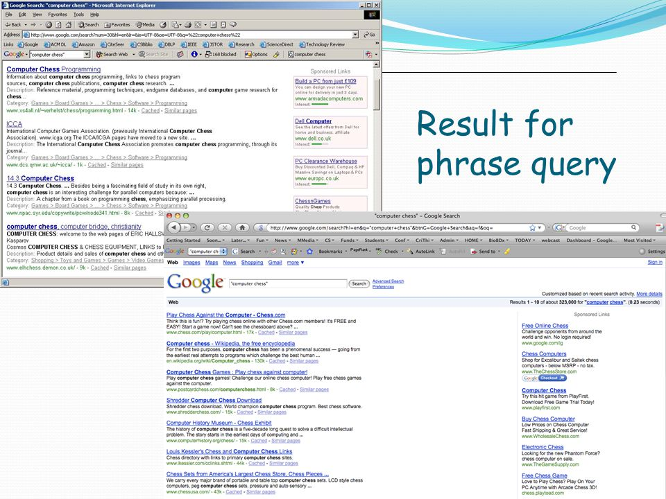 Result for phrase query