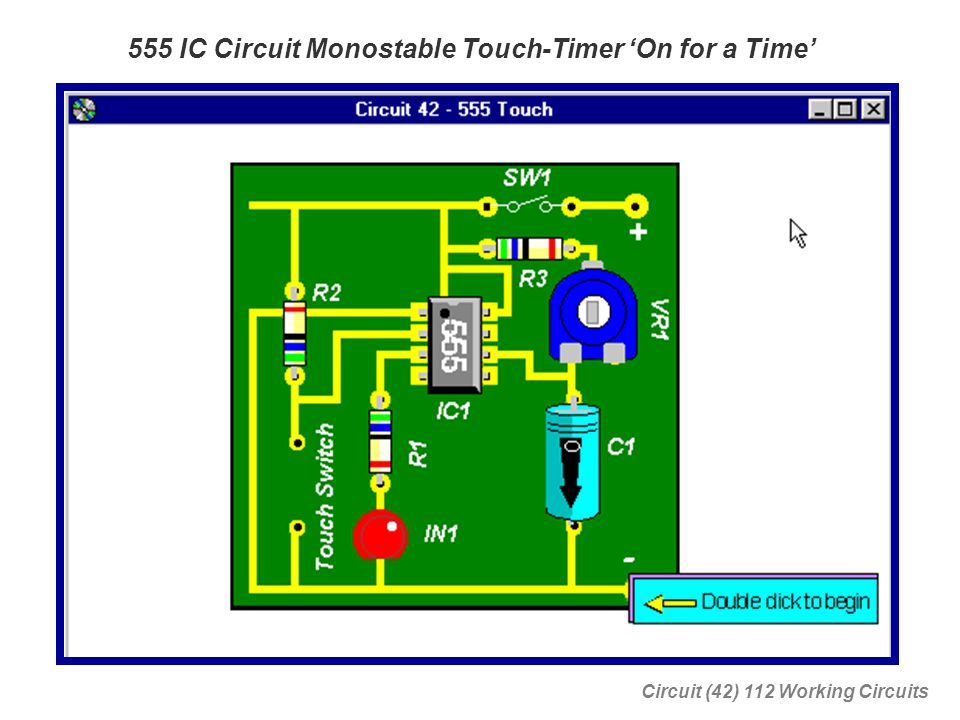 555 IC Circuit Monostable Touch-Timer 'On for a Time'