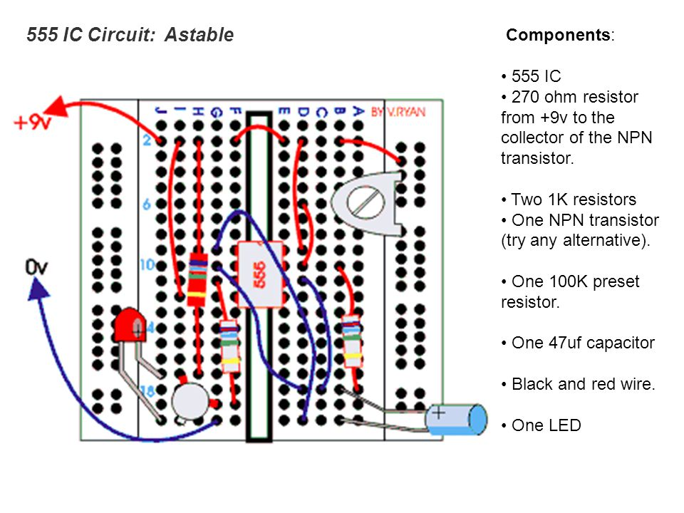 555 IC Circuit: Astable Components: 555 IC