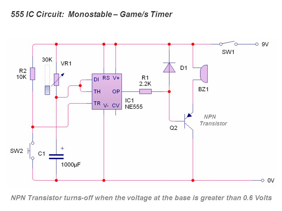 555 IC Circuit: Monostable – Game/s Timer