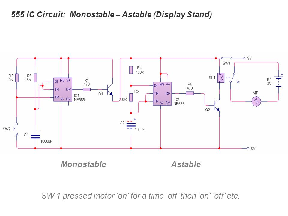 555 IC Circuit: Monostable – Astable (Display Stand)