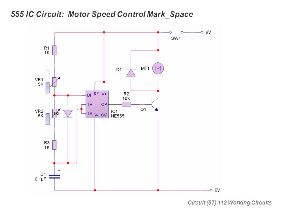 555 IC Circuit: Motor Speed Control Mark_Space