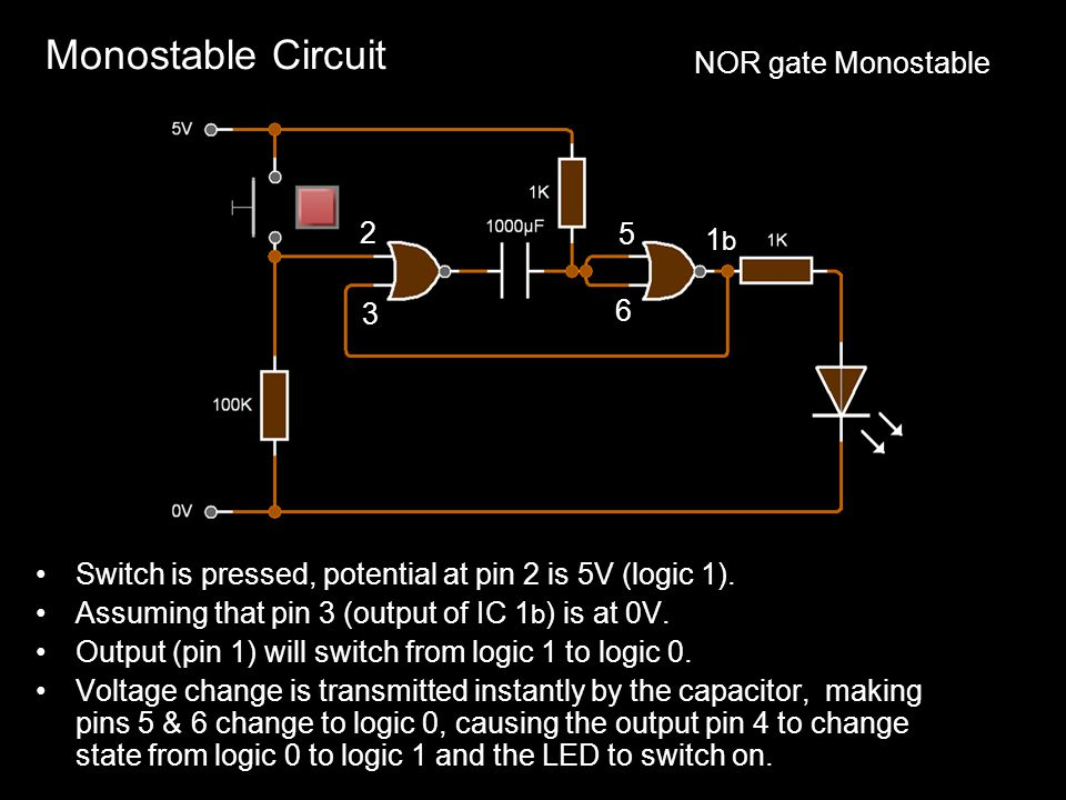 Monostable Circuit NOR gate Monostable 2 5 1b 6 3