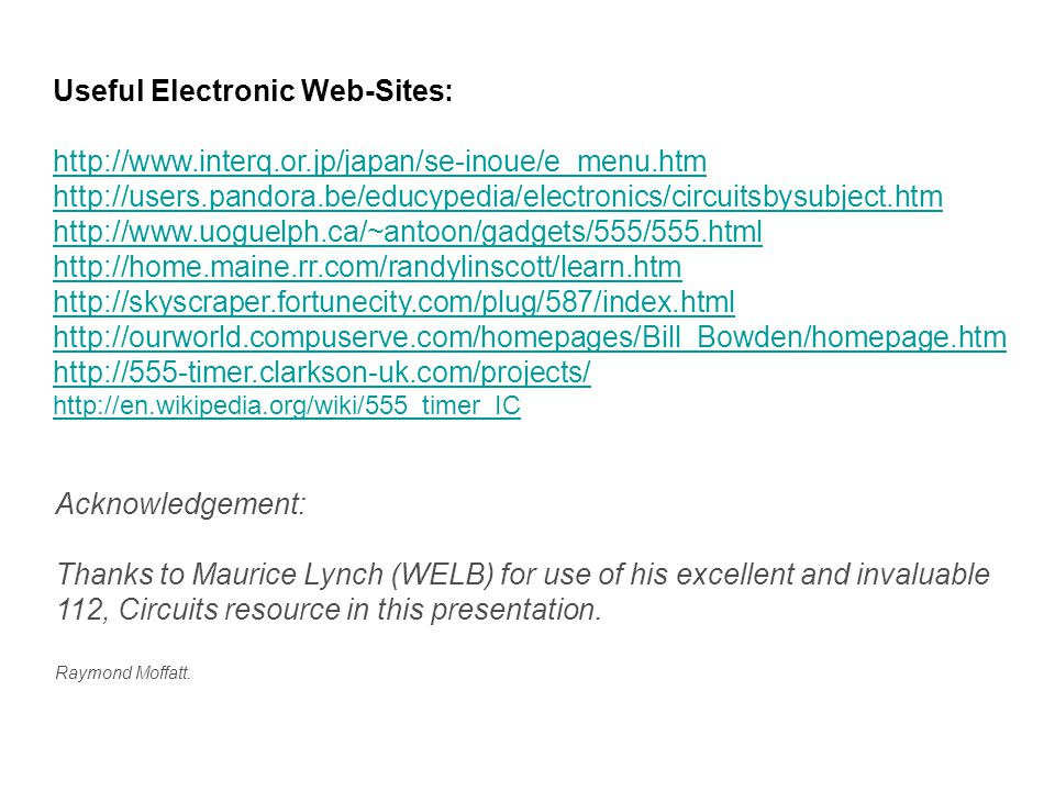 Useful Electronic Web-Sites: