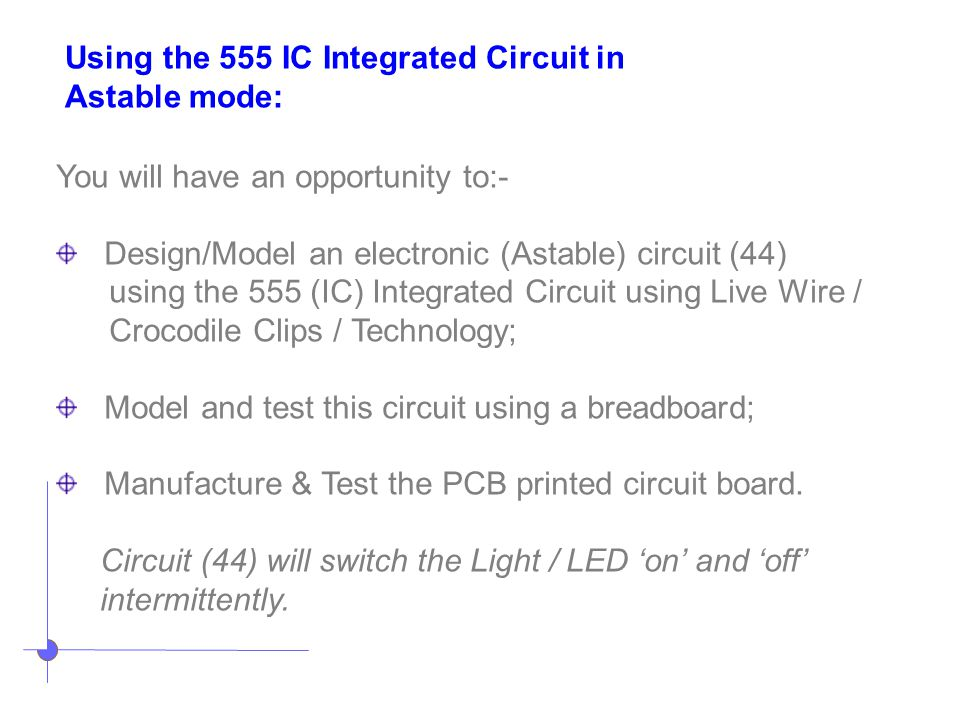 Using the 555 IC Integrated Circuit in
