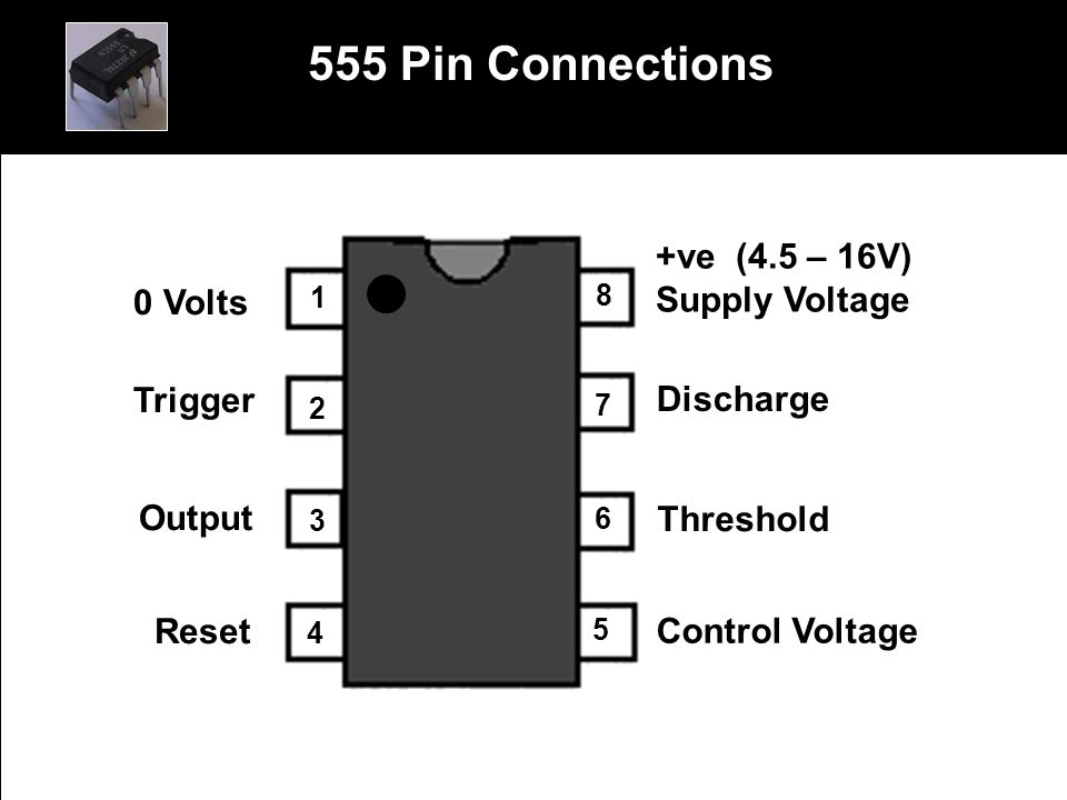 555 Pin Connections 0 Volts Trigger Output Reset +ve (4.5 – 16V)