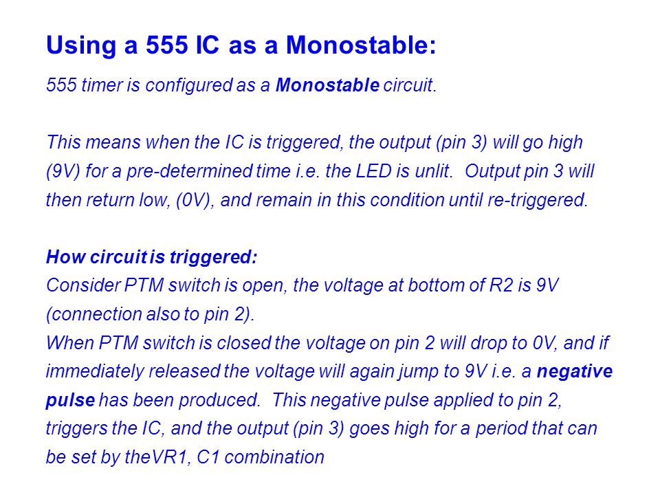 Using a 555 IC as a Monostable:
