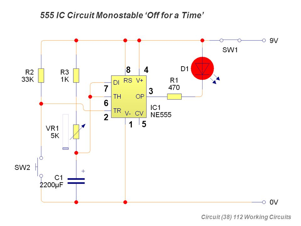 555 IC Circuit Monostable 'Off for a Time'