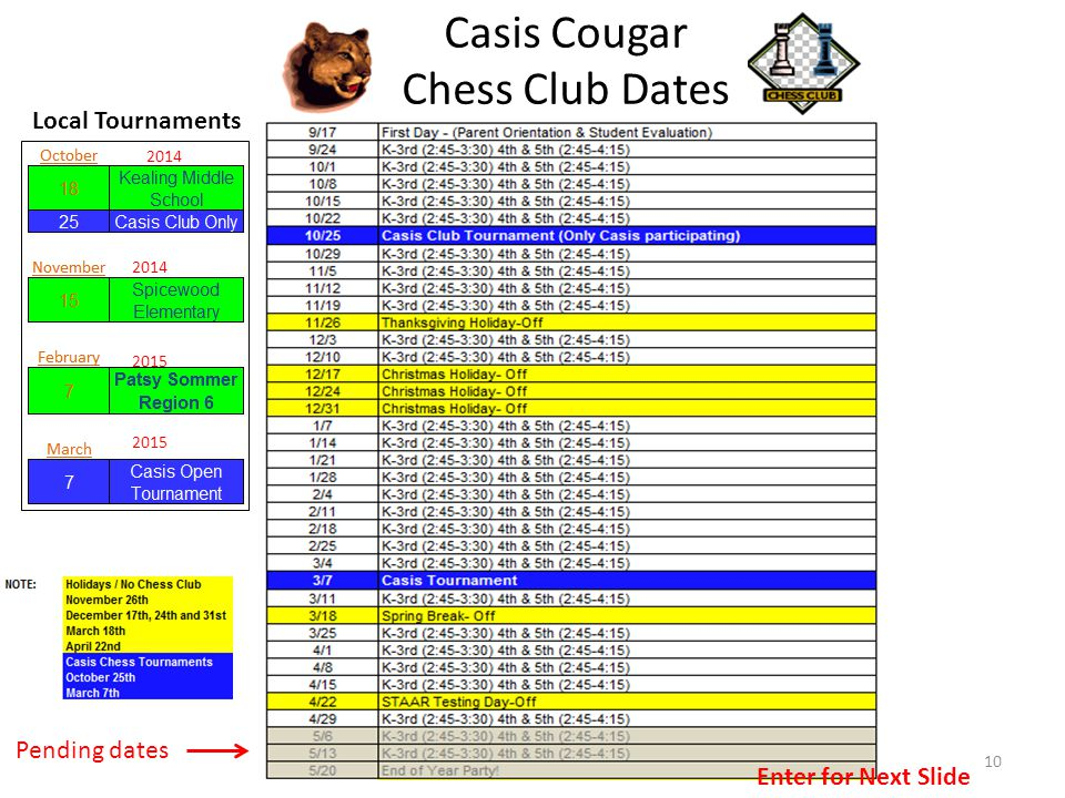 Casis Cougar Chess Club Dates