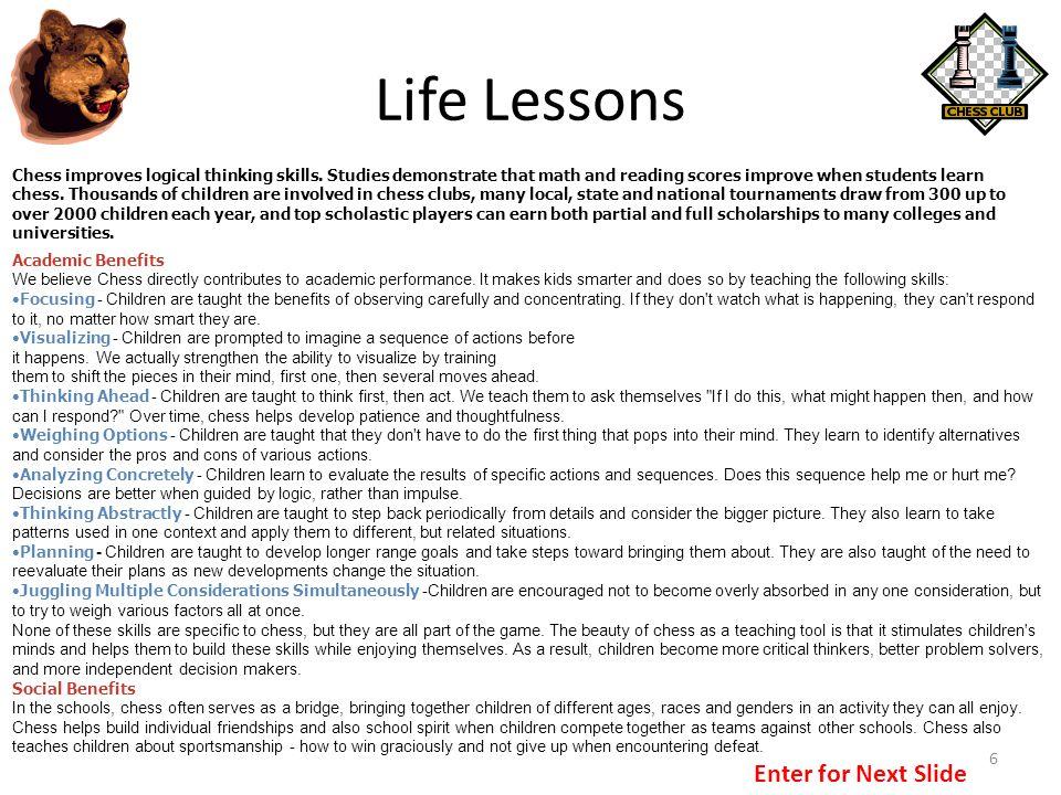 Life Lessons Enter for Next Slide