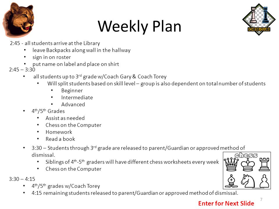 Weekly Plan Enter for Next Slide