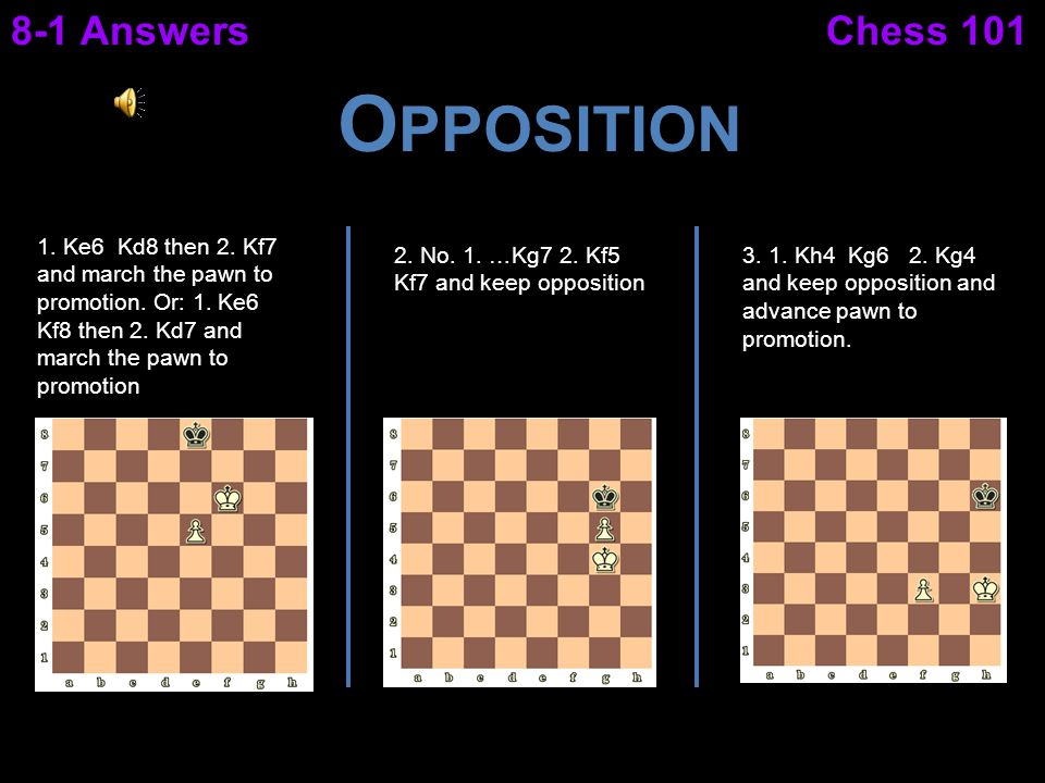 Opposition 8-1 Answers Chess 101