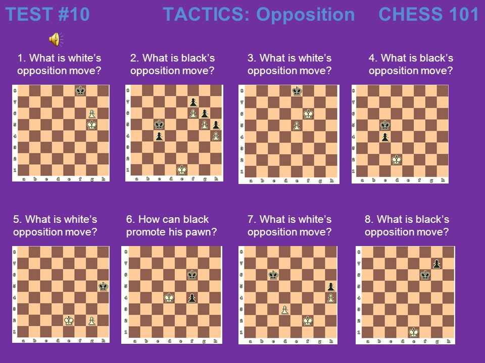 TEST #10 TACTICS: Opposition CHESS 101