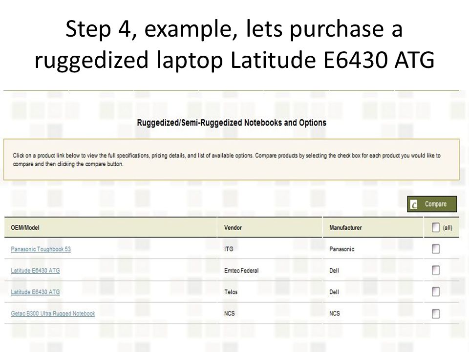 Step 4, example, lets purchase a ruggedized laptop Latitude E6430 ATG