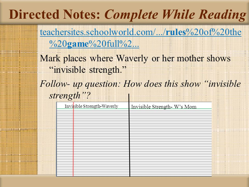 Directed Notes: Complete While Reading